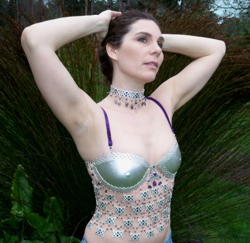 "Shani Christenson Wearing ""Brigit's Armor"" Fine Silver Metal Body Art"