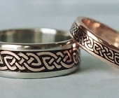 Celtic Bonding Knot Rings, White Gold Band with Rose Gold Knots, All Rose Gold Narrow Band