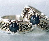 Double lined Silver and Yellow Gold Celtic Heart Shield Rings