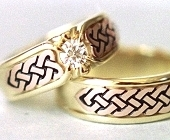 Yellow and Rose Gold Celtic Heart Shield Wedding Set