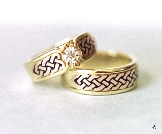 Yellow and Rose Gold Celtic Heart Shield Wedding Set, with a flush set .33ct Diamond