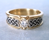 Yellow and White Gold Celtic Heart Shield Ring