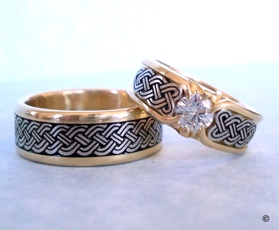 Double Lined Yellow and White Gold Celtic Heart Shield Wedding Set, with a flush set .50ct Diamond