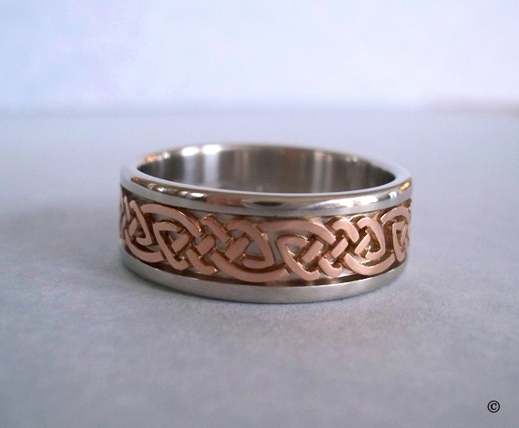 Celtic Bonding Knot Rings, Platinum Wedding Band with Open Rose Gold Celtic Knots