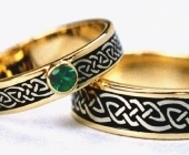 Celtic Bonding Knot Rings, Yellow Gold Bands with White Gold Knots
