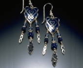 Celtic Heart Shield Earrings in Blue Glass Enameled Fine Silver