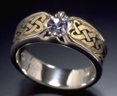 Sterling Silver and Yellow Gold Celtic Heart Shield Ring