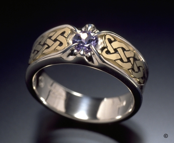 Sterling Silver and Yellow Gold Celtic Heart Shield Ring, flush set with a .33ct purple Sapphire
