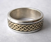Celtic Eternity Braid Ring in Sterling with Yellow Gold Knots