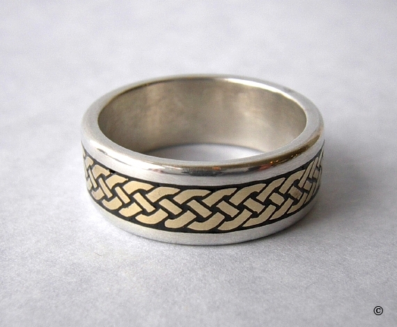 Celtic Eternity Braid Ring in Sterling Silver with Yellow Gold Knots