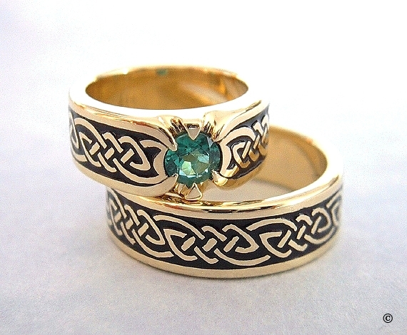 Celtic Bonding Knot Eternity Shield Ring Wedding Set, 18K Yellow Gold bands flush set with a .50ct Emerald