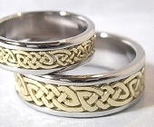 Celtic Bonding Knot Rings, Platinum Bands with Open Yellow Gold Knots