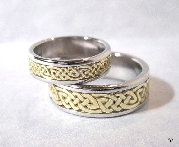Celtic Bonding Knot Rings, Platinum Bands with Open Yellow Gold Celtic Knots