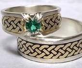 Silver and Yellow Gold Celtic Heart Shield Rings