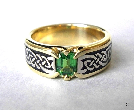 Celtic Bonding Knot Shield Ring, Yellow Gold Band with White Gold Knots, flush set with a 1ct  Emerald