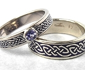 Celtic Bonding Knot Rings, White Gold with Bezel Setting