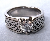 White Gold Celtic Heart Shield Ring