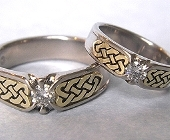 White and Yellow Gold Narrow Celtic Heart Shield Rings