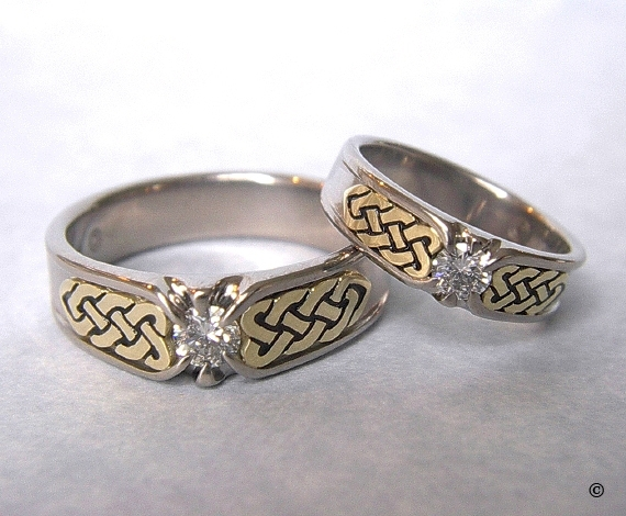 White and Yellow Gold Narrow Celtic Heart Shield Rings, flush set with .20ct Diamonds