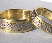 Celtic Bonding Knot Rings, Yellow Gold Bands with White Gold Knots and no glass enamel