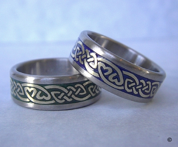 Celtic Bonding Knot Rings, White Gold Bands with Yellow Gold Knots, Heart Detail