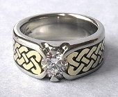 White and Yellow Gold Celtic Eternity Heart Shield Ring