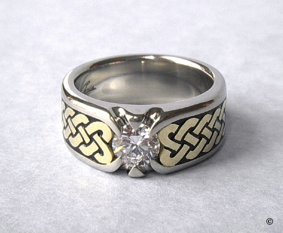 White and Yellow Gold Celtic Eternity Heart Shield Ring flush set .50ct Diamond