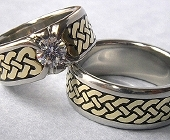 White and Yellow Gold Celtic Eternity Heart Shield Rings