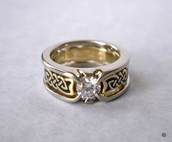Celtic Bonding Knot Puzzle Shield Ring, White Gold Band with Yellow Gold Knots, flush set with a .50ct diamond