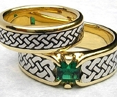 Yellow and White Gold Celtic Eternity Heart Shield Rings