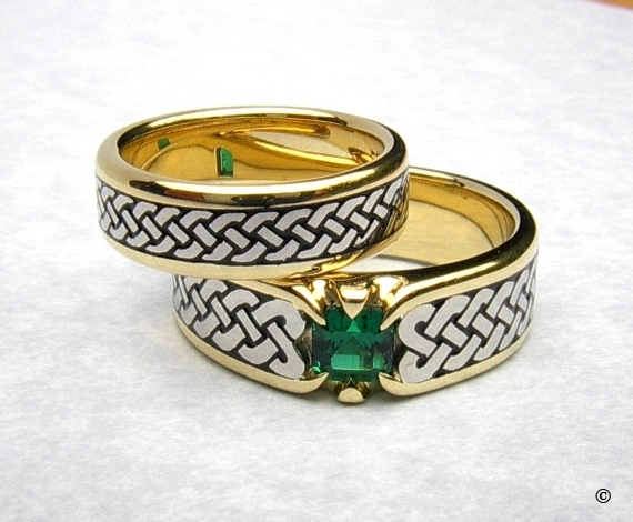Narrow Yellow Gold Celtic Braid Eternity Ring with White Gold Knots and Celtic Eternity Heart Shield Ring, flush set with a square Emerald